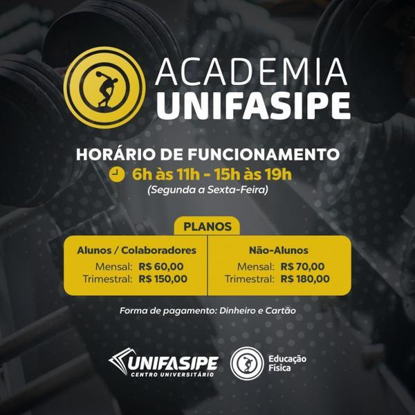 UNIFASIPE REABRE ACADEMIA COM ATENDIMENTO PARA TODA À COMUNIDADE